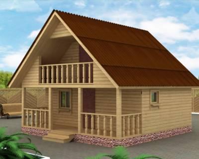 Проект Бани из бруса 6х6 с балконом
