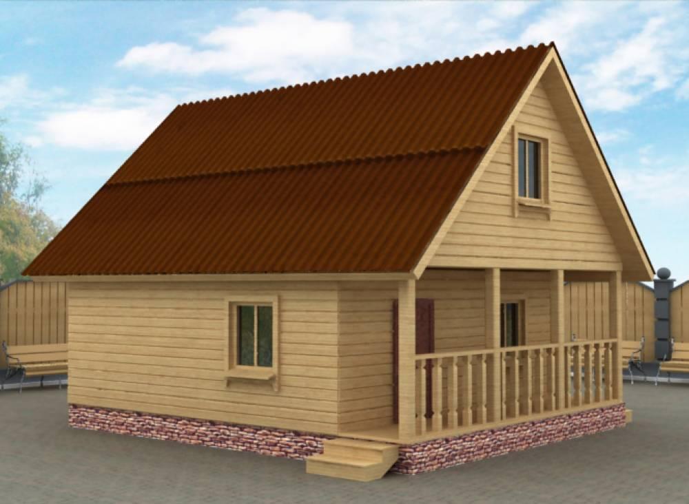 Проект Бани из бруса 6х6 с террасой, двух этажная.