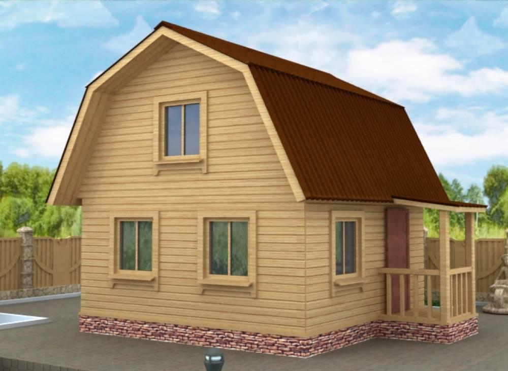 Дачный дом 5х5 с крыльцом
